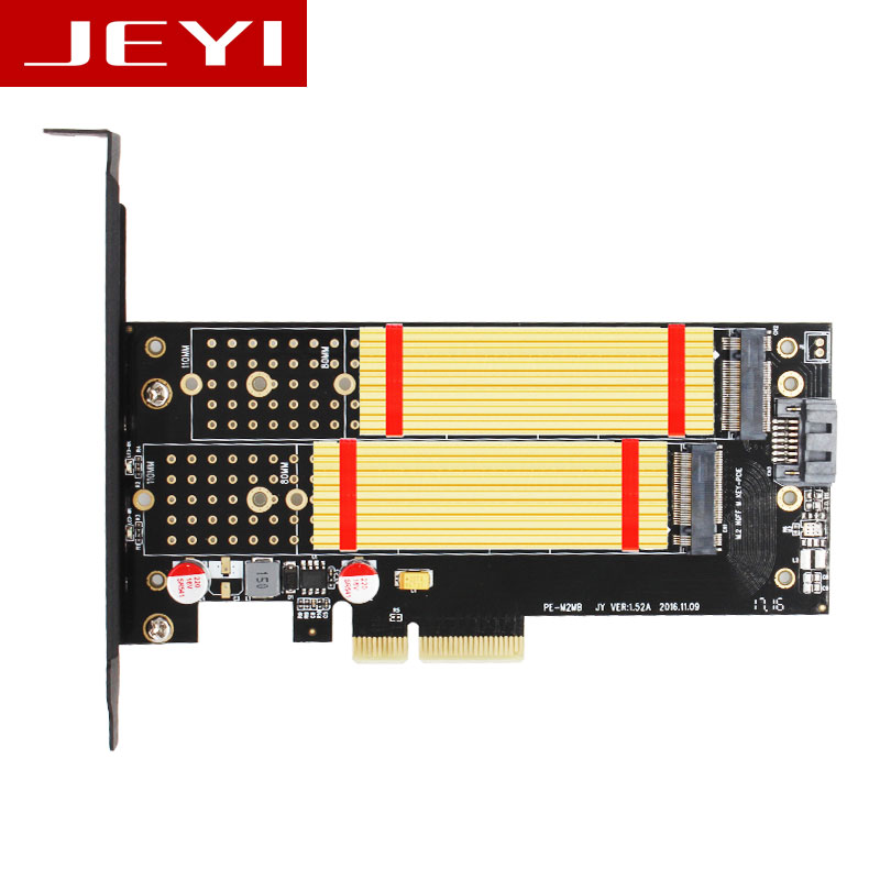JEYI SK7 Pro M.2 NVMe SSD NGFF TO PCI-E X4 3.0 Adapter M Key B KEY Dual Interface Card PCI Express3.0 Dual Voltage 12V+3.3V SATA