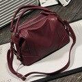 Hot Sale 2016 New Fashion Girl Bags Soft Leather Handbags Big Women Bag Zipper Ladies Shoulder Bag F489