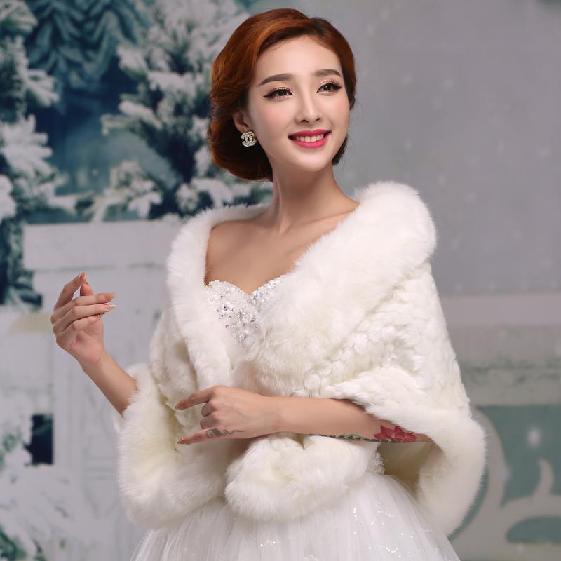 2016 de marieacutee bolero veste femmes faux eacutetole de fourrure manteau ivoire - Tole Blanche Mariage