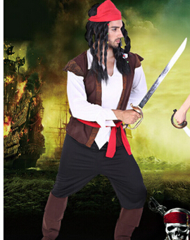 Free shipping cosplay party pirates of the Caribbean clothes 2 styles man women sexy uniform adult carnival halloween costume