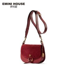 EMINI HOUSE Retro Saddle Bag Split Leather Ring Shoulder Bag Luxury Brand Crossbody Bags For Women Messager Bags
