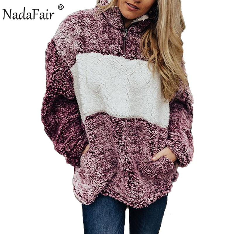 Nadafair Winter Turtleneck Thick Faux Fur Hoodies Women Sweatshirt Autumn Long Sleeve Patchwork Casual Warm Oversized Hoodie