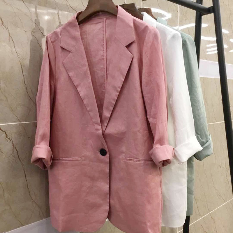 2019 fashion pink cotton and linen European and American fashion solid color women's suit jacket