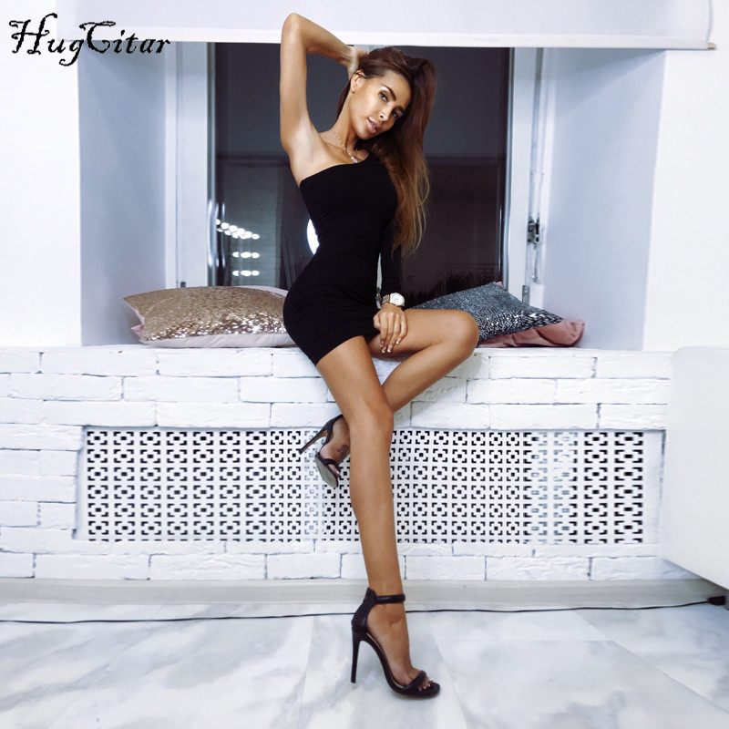 Hugcitar cotton one one shoulder slope long sleeve high waist sexy bodycon dresses 2018 autumn winter