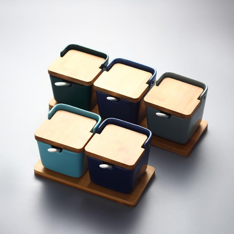 Сахарница кухонный набор керамики для соли и специй баночки для приправ с ложками|Сахарницы и креманки|   | АлиЭкспресс