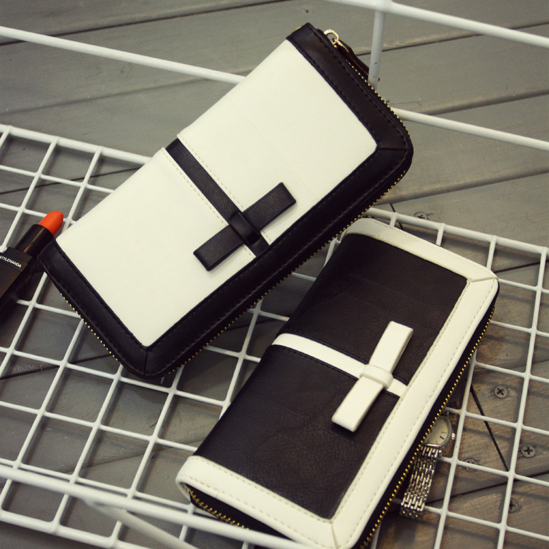 Női hosszú pénztárcák Klasszikus pénztárca nő táskák divat 2014 Tervezők Standard fekete-fehér nagy cipzáras női pénztárca-tengelykapcsoló
