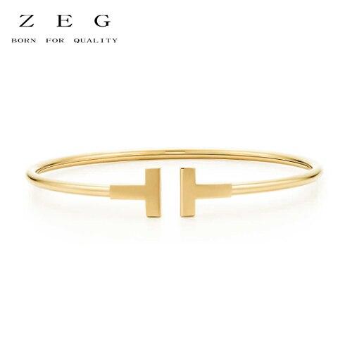 цена на ZEG High Quality 100% Sterling Silver TIFF Original 1:1 Double T Golden Bracelet Golden Has Logo Women Jewelry Free Mail