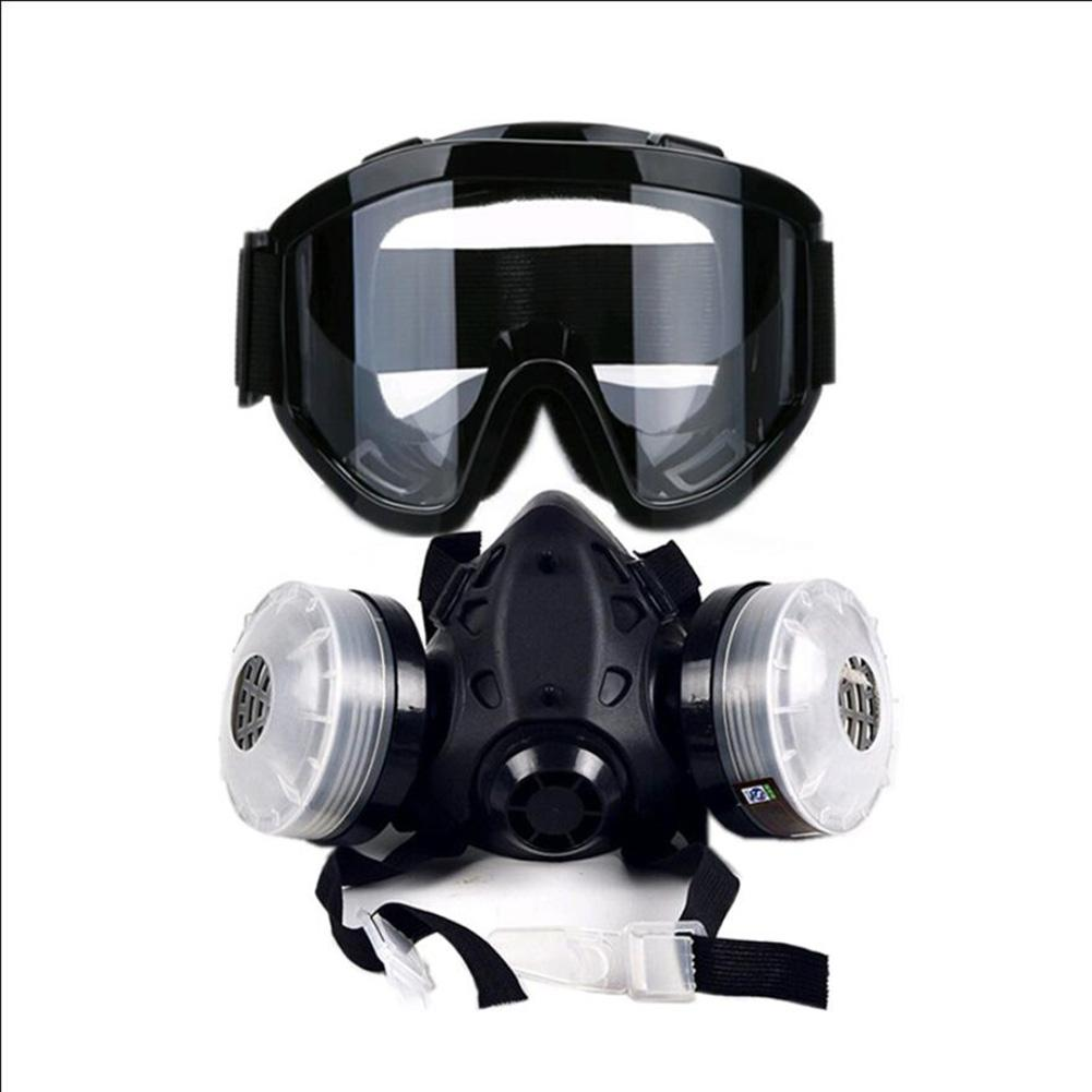 In stock Half Face Gas Mask With Anti fog Glasses N95 Chemical Dust Mask Filter Breathing Innrech Market.com