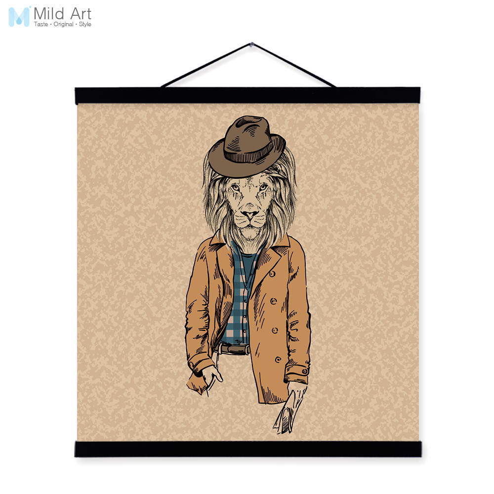 Lion Retro Gentleman Wildlife Animal Portrait <font><b>Hippie</b></font> Wood Framed Canvas Painting Wall Art Print Picture Poster Scroll <font><b>Home</b></font> <font><b>Decor</b></font>