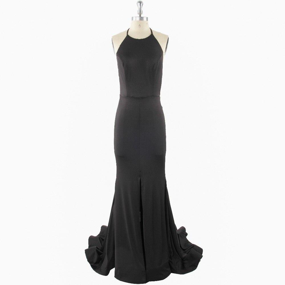 2017 Sexy Black Trumpet/Mermaid Sleeveless Halter Zipper Floor-length Backless Satin Bow Formal   Prom     Dress   Evening