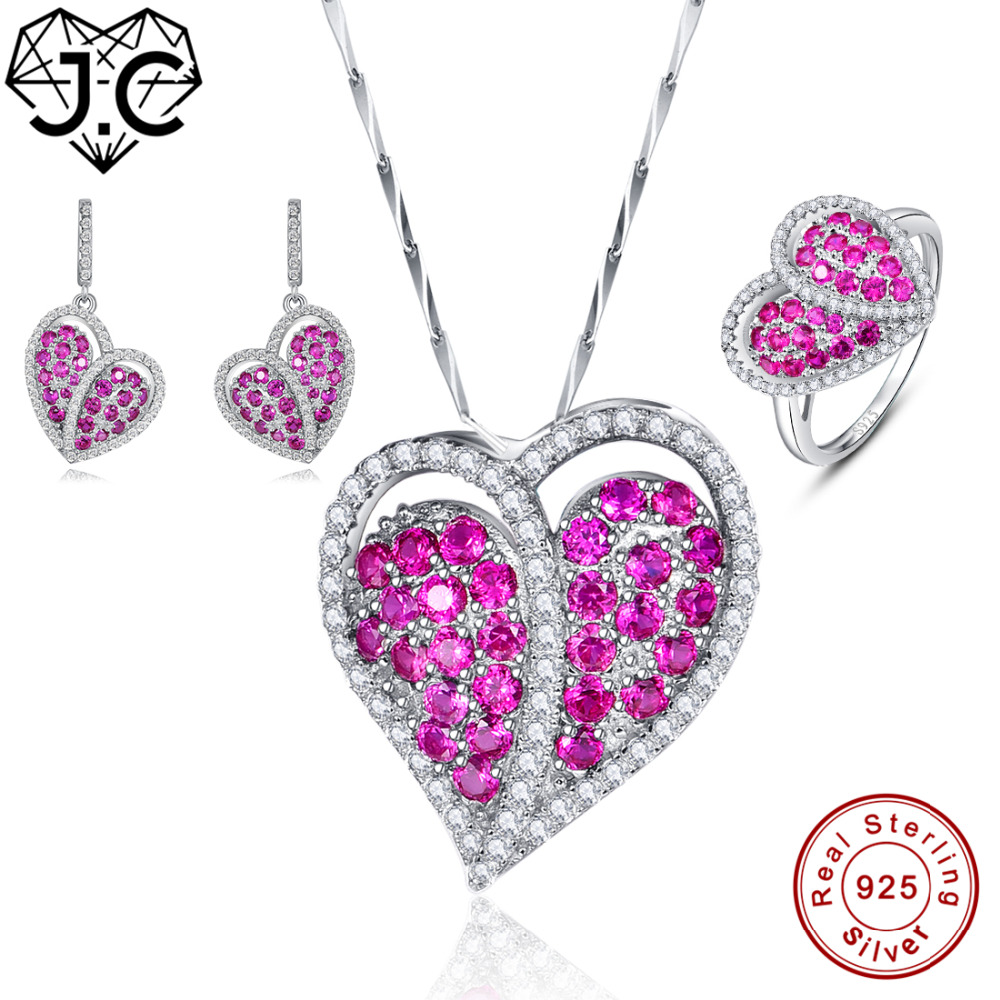 J.C Wholesale Women Ruby Pendant & Ring & Earring