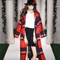 Осень женская Мода Классический Большой Плед шерстяное пальто Верхней Одежды Пальто Женщин Зима Peacoat Пончо длинное платье случайные