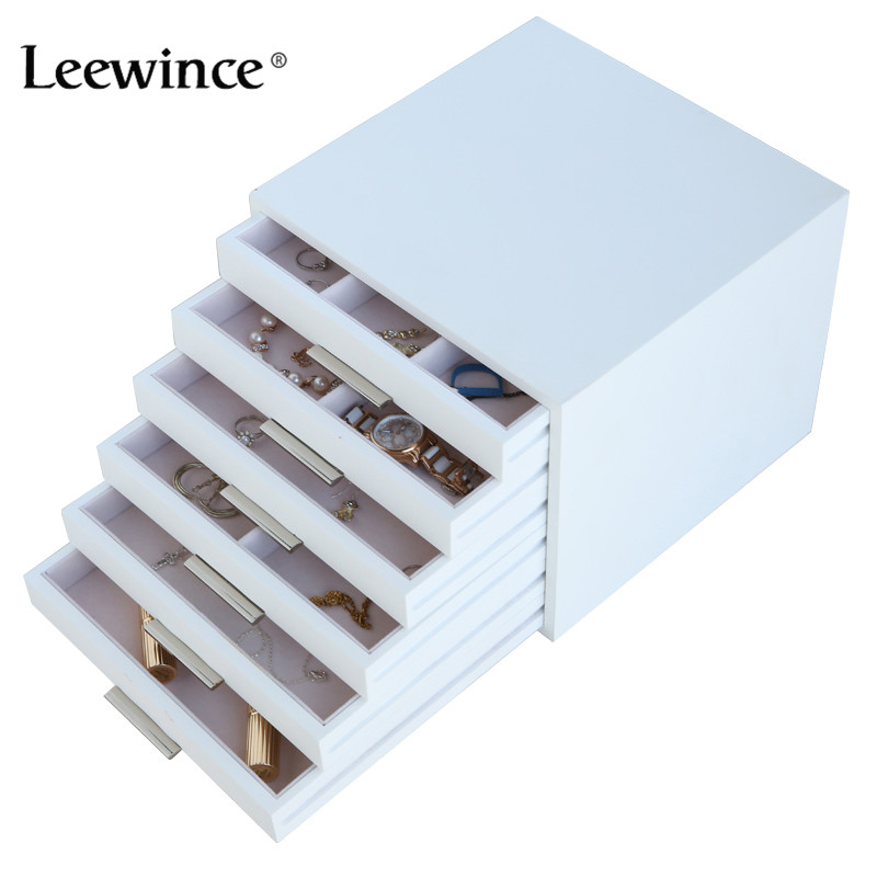 Leewince Custom Wooden Jewelry Makeup Organizer E0 E1 MDF Storage Box Beautiful Design Box Jewelry For Display,Support OEM & ODM