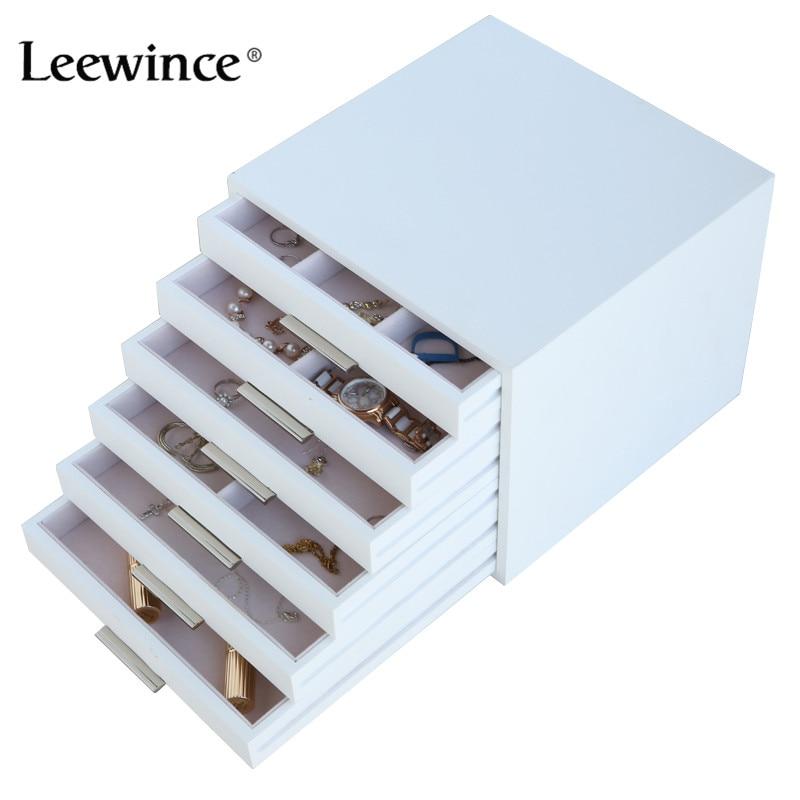 Leewince Custom Wooden Jewelry Makeup Organizer E0 E1 MDF Storage Box Beautiful Design Box Jewelry For Display,Support OEM & ODM