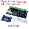 18CH RJ45 dmx512 decoder,18 channel dmx512 controller, 6groups RGB output,each channel max 3A,LED DMX drive,Digital display