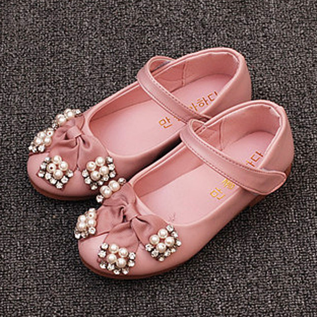 2017 Autumn Crystal Bow Princess Shoes For Girls Ankle Strap Toddler Girl Princess Shoes Children Ballet Shoes For Wedding