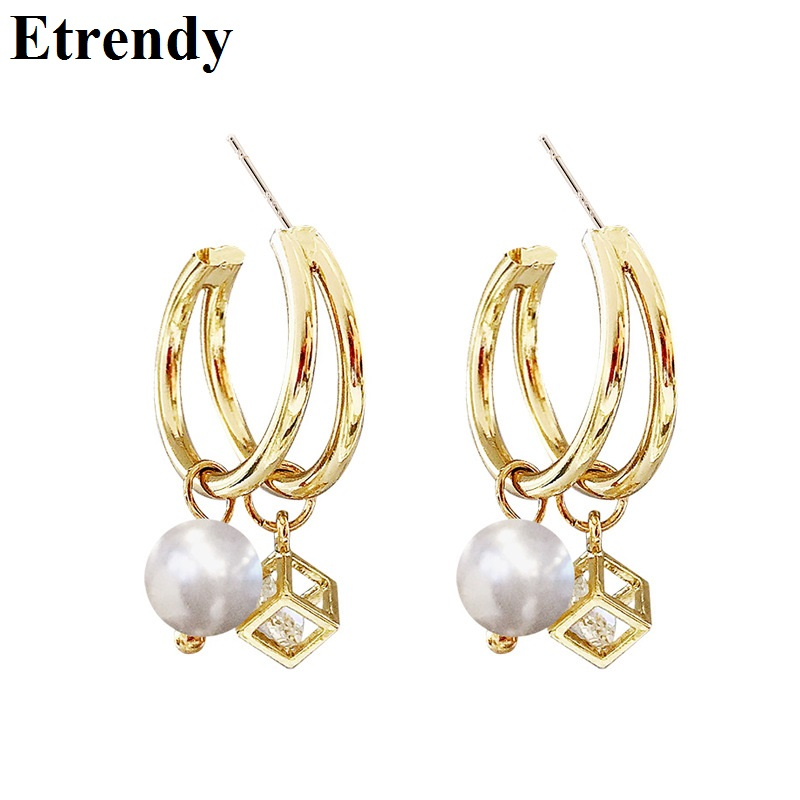 Jewelry & Accessories Korea 2019 Summer New Lovely Shining Zircon Star Ab Earrings For Women Fashion Jewelry Simulated Pearl Long Metal Chain Earings
