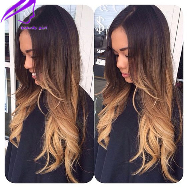 New Dark Roots Brown Blonde Three Tone Synthetic Lace Front Wig Heat Resistant Hair