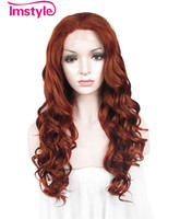 Imstyle Water-Wave Synthetic dark red 24 inches Lace Front Wig