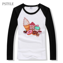 Spring Female T-shirt Sweet Ice Cream Donut Print T Shirt for Women Raglan Long Sleeve Autumn Fashion Tshirt Hipster Tee Tops lace raglan sleeve keyhole tee