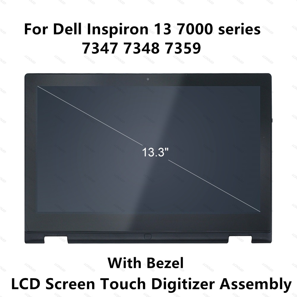 For Dell Inspiron 13 7000 series 7347 7348 7359 P57G 11118178082 LCD Display Touch Screen Glass Panel Digitizer Assembly+Frame 15 6 n133hse ea1 1920 1080 30pins lcd display screen matrix replacement repair for dell inspiron 13 7000 series 7347 7348 p57g