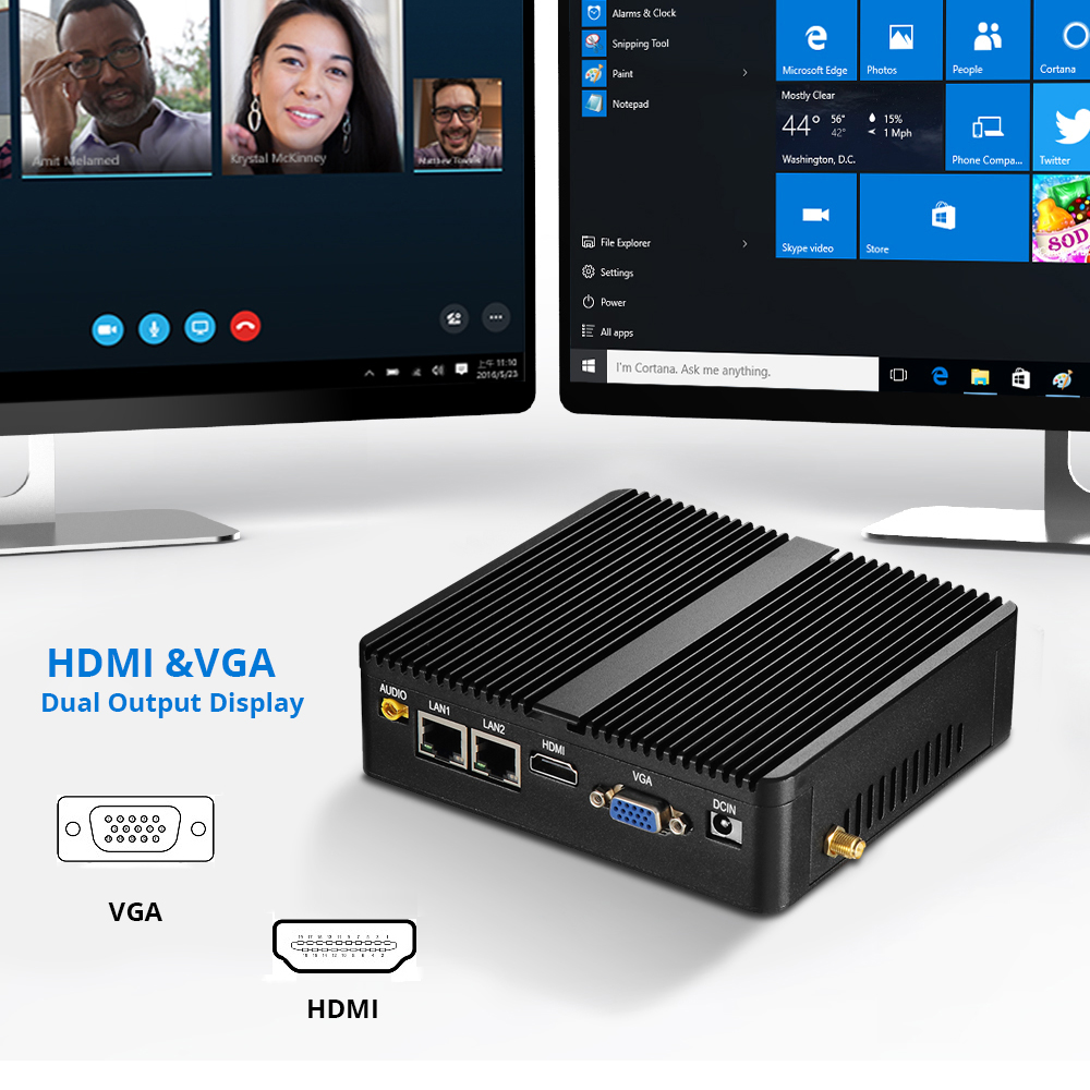 XCY безвентиляторный мини-ПК Windows 10 4 ГБ Оперативная память Intel J1800 J1900 3805U 3755U HTPC промышленного ПК неттоп 2 LAN 2 RS232 HDMI VGA WiFi