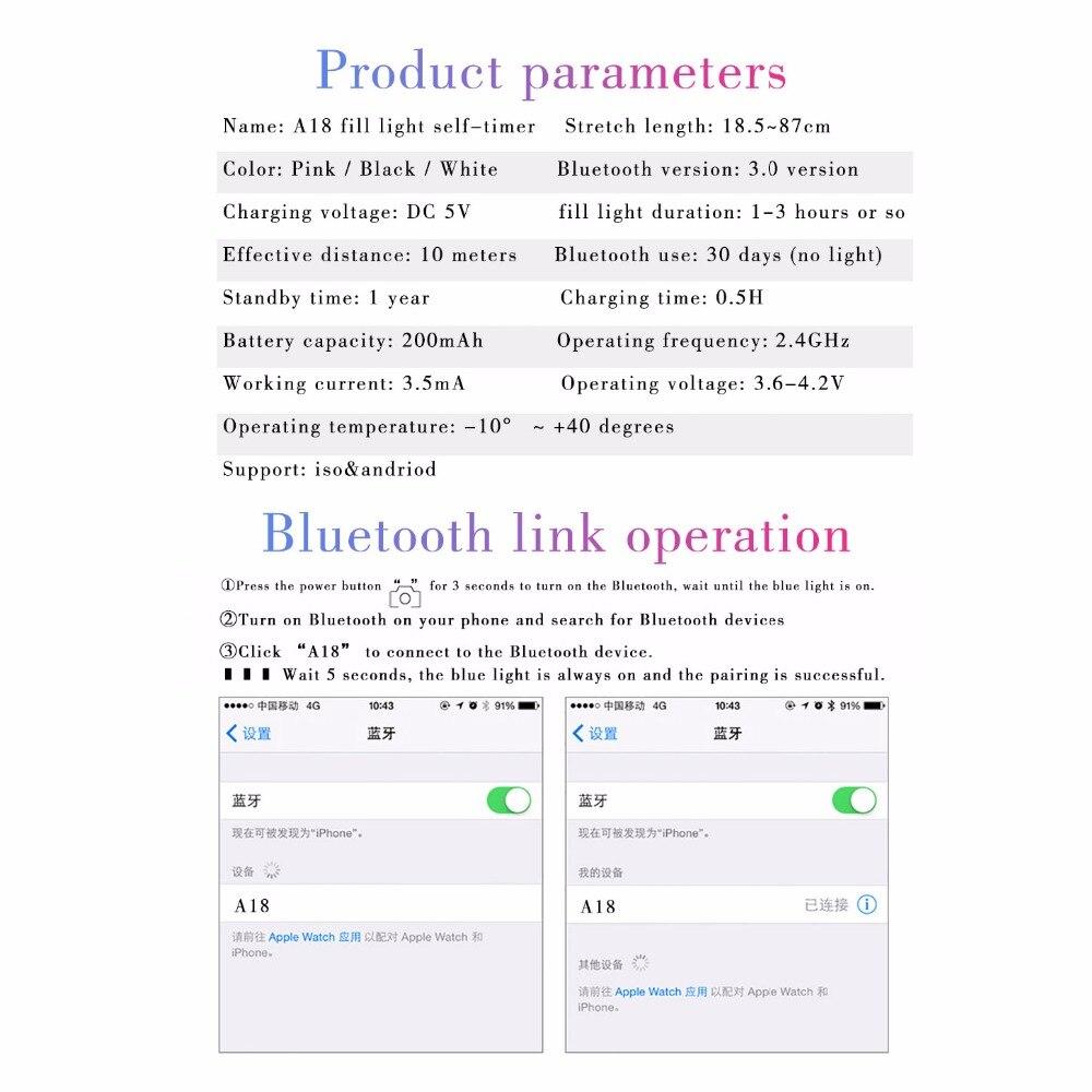 Portable Bluetooth Selfie Stick Tripod Extendable Monopod With Fill Light Wireless Selfie Stick for iPhone Xiaomi Smartphone