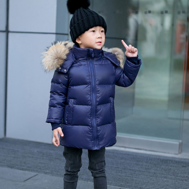 2-14Y Children Winter Coat 90% White Duck Down Boys Winter Jackets Big Real Fur Hooded Girls Winter Coat Kids Winter Clothes цены онлайн