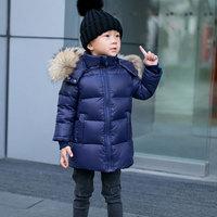 2 14Y Children Winter Coat 90% White Duck Down Boys Winter Jackets Big Real Fur Hooded Girls Winter Coat Kids Winter Clothes