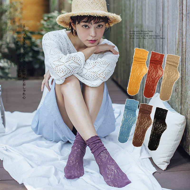 Woman   Socks   1 Pair 2019 Spring New Fashion   Socks   Cotton Solid Color Women Soft Sexy Hollow Out Lace Long Women Mesh Thin   Socks