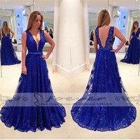 Düğünler ve Etkinlikler'ten Abiyeler'de Muhteşem sırf derin v yaka kraliyet mavi A Line abiye uzun 2019 dantel Backless resmi elbise ucuz giysiler çin Vestidos