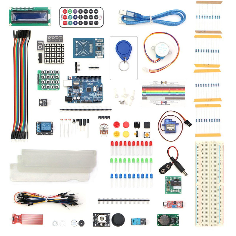 Arduino Starter Kit for arduino Uno R3 - 9G Server /arduino sensor /1602 LCD / jumper Wire/ UNO R3/Resistor free shipping frree shipping top selling high qualiy uno r3 starter kit 1602 lcd dot matrix breadboard led resistor hot selling