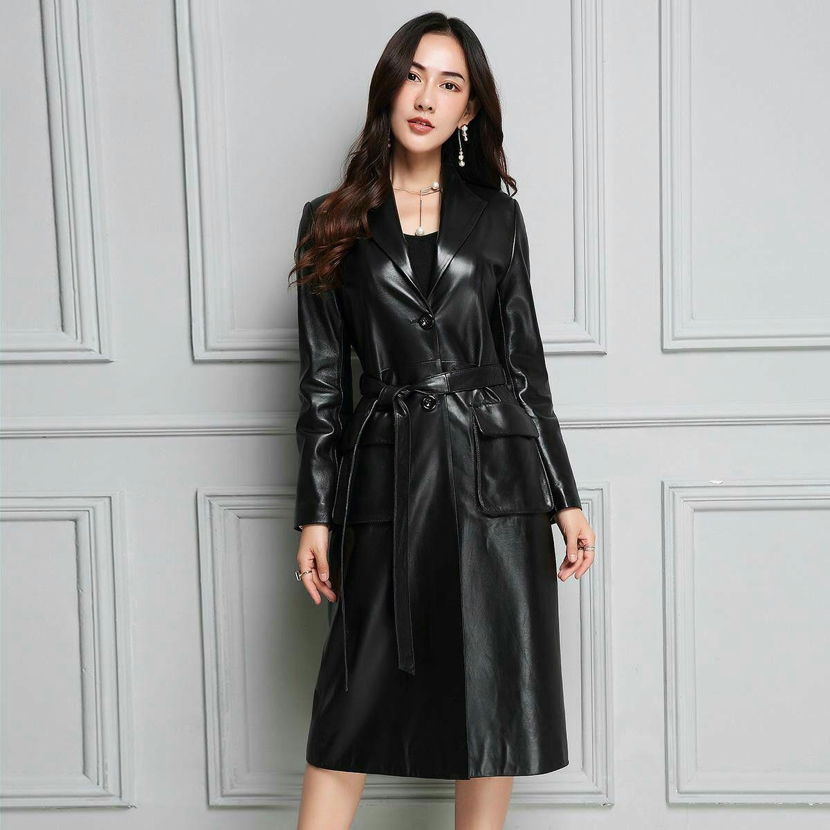 Véritable Cuir trench-coat Femmes Réel en peau de Mouton Coupe-Vent à manches longues manteau en cuir gl0135