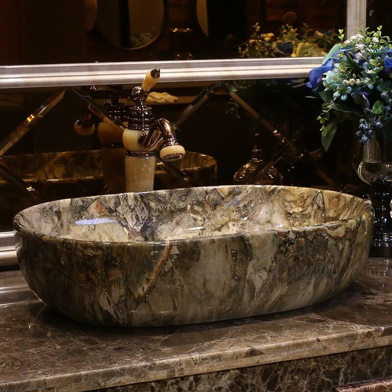 imitation stone Oval shape Porcelain wash basin sink ceramic basin sink Counter Top Wash Basin bathroom ceramic art porcelain sink (2)