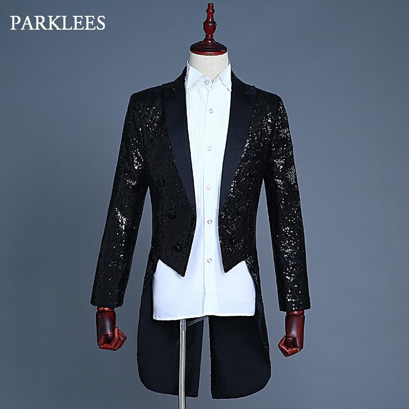 Cool Sequins Texedo Suit Blazer Men Longline Slim Fit Mens Black Dress Blazers Jackets Wedding Grooms Stage Singer DJ Tail Coats