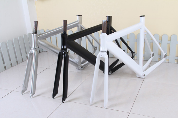 <font><b>700C</b></font> Fixie bike frame road bicycle aluminum <font><b>alloy</b></font> frame Fixed Gear Bike frame <font><b>fork</b></font> 52cm bicycle frame image