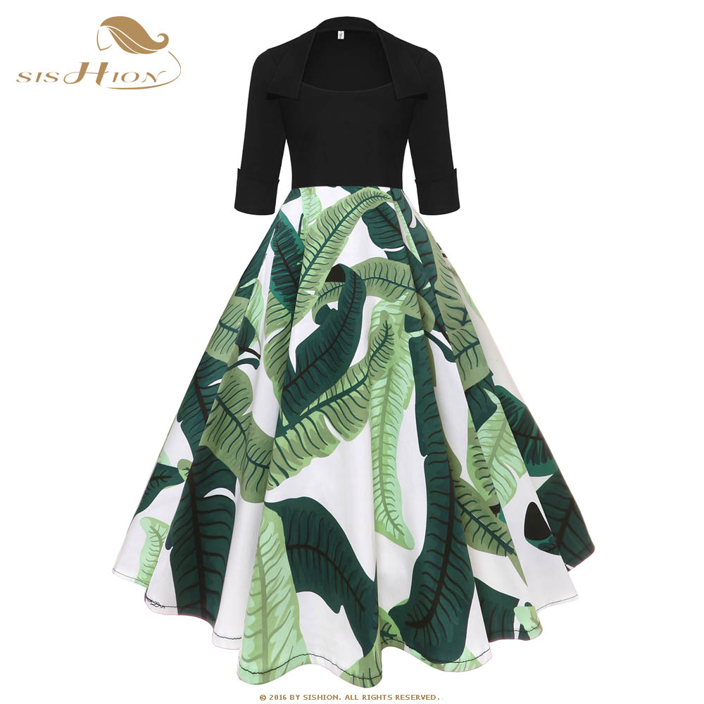SISHION Cotton Women Dress Autumn Elegant Butterfly Leaves Print 50s 60s Vintage Hepburn Big Swing Rockabilly Dress VD0927
