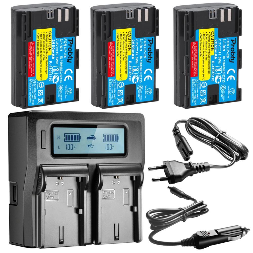 LP E6 E6N LP-E6 LPE6 Battery 2650mah For Canon 5D Mark II III IV, 80D, 70D, 60D, 6D, EOS 5Ds, 5D2, 5D3, 5DSR, 5D4 Camera