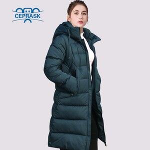 Image 1 - CEPRASK 2020 nowa pogrubienie kurtka zimowa kobiety Parka Plus rozmiar 6XL długi modny damski płaszcz zimowy z kapturem ciepła ocieplana kurtka