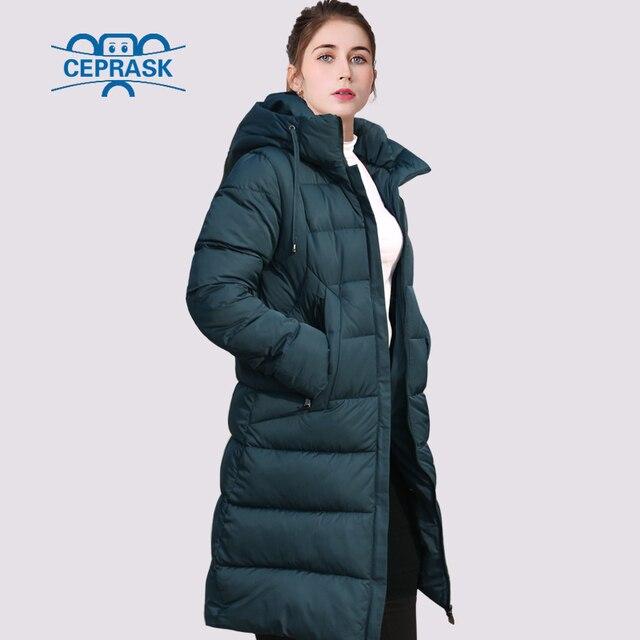 CEPRASK 2020 nowa pogrubienie kurtka zimowa kobiety Parka Plus rozmiar 6XL długi modny damski płaszcz zimowy z kapturem ciepła ocieplana kurtka