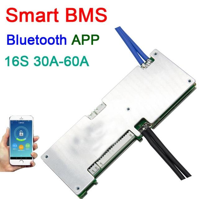 16S 50A 40A 30A ليثيوم أيون BMS لوح حماية bms الذكية التوازن بلوتوث app UART bms البرمجيات (APP) رصد يبو ليثيوم