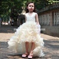 Принцесса Девушки Pageant Платья Прекрасный V Шеи Оборками Из Органзы Дети Пром Платье Бальное платье Цветочница Платье для Свадьбы