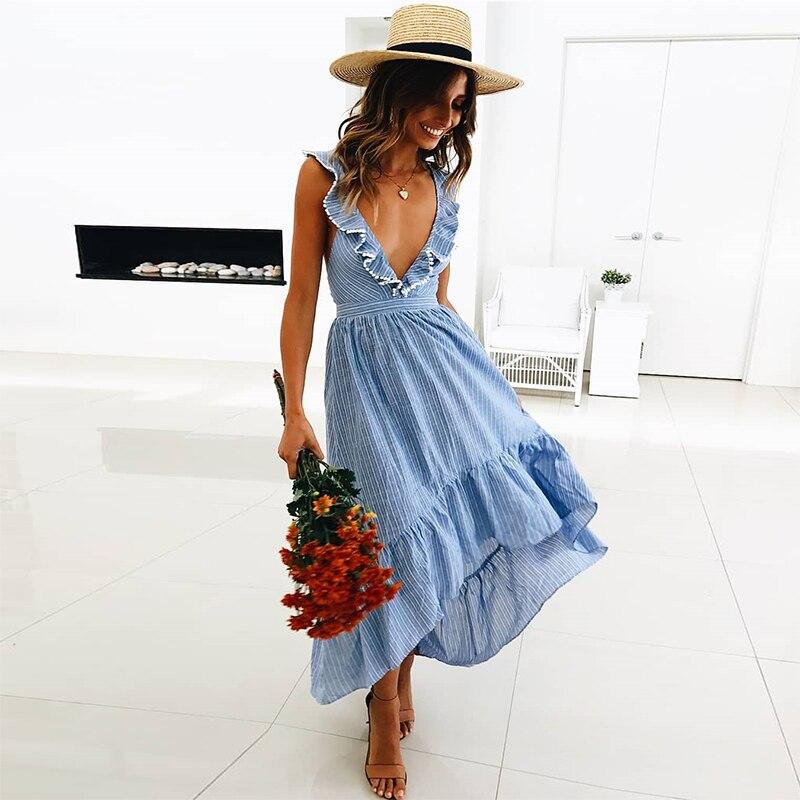 2019 летнее макси платье женское Полосатое повседневное пляжное платье с оборками глубокий v образный вырез сексуальное с открытой спиной, высоко и низко асимметричное длинное платье халат