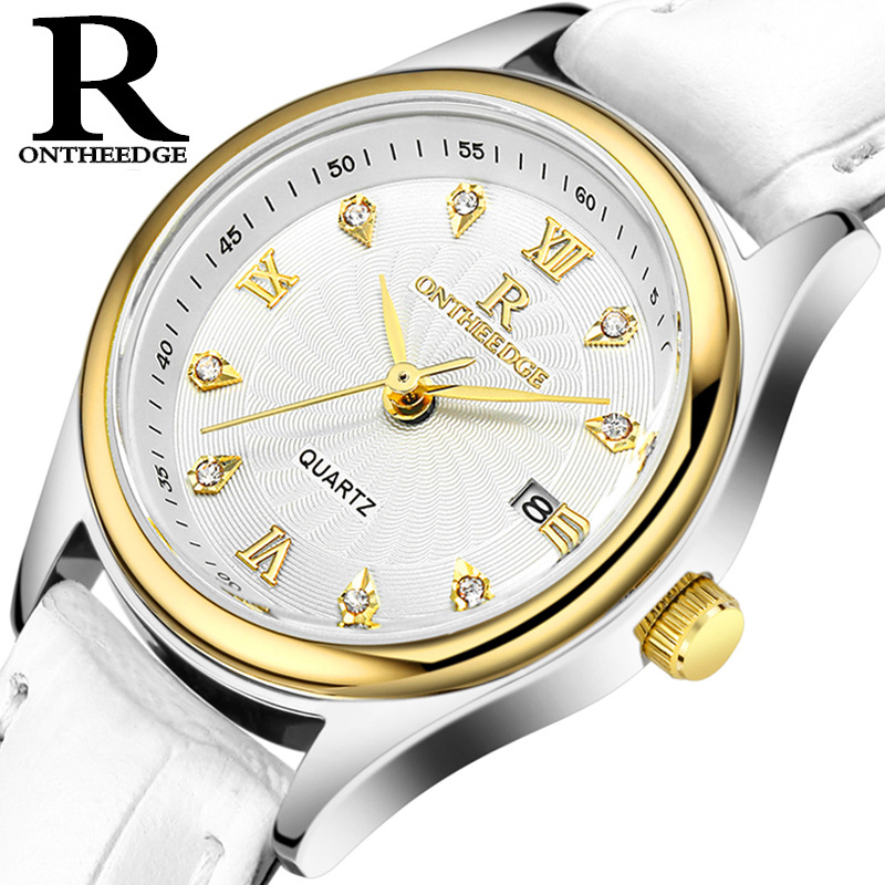 ONTHEEDGE Ms Quartz 30m Deep Waterproof Watchs Women 39 s Genuine Leather Watch Band Zegarek Damski Relogio Dorp Shipping in Women 39 s Watches from Watches
