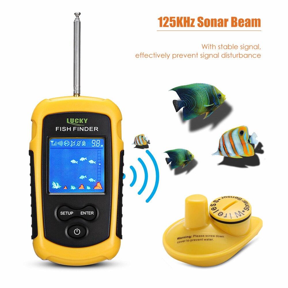 Chanceux Portable sans fil détecteur de poisson 40 m pêche Sonar capteur transducteur écho sondeur détecteur d'alarme sondeur mer carpe pêche