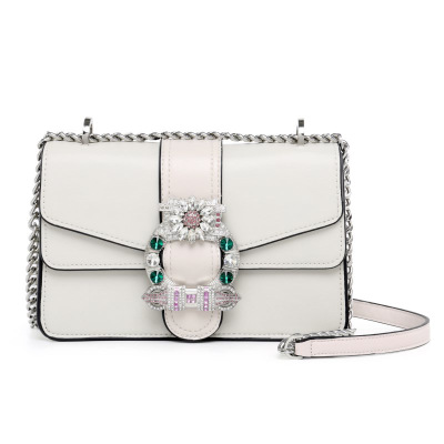 Brand Luxurious Rhinestone Chain Shoulder Bag Female sac a main Shield Lock Evening Crossbody Bags Women