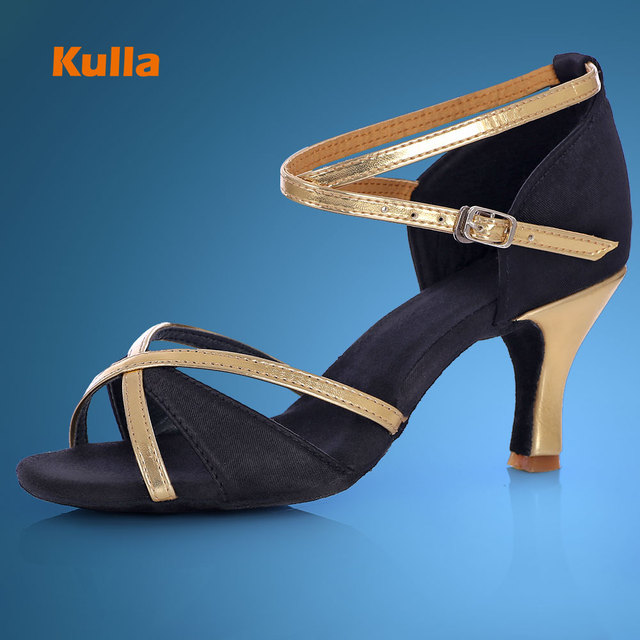 KULLA New Adult Ballroom Latin Dance Shoes Woman Tango Salsa Dancing Shoes For Women Female Ladies Black High-heeled Dance Shoes