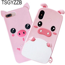 For iphone 7 6 6S 8 Plus Case Cover 3D Cute Cartoon Soft Silicone Pig Back Phone Cases For iphone X 5 5S Funny Animal Pink Ears cute silicone stand audio amplifier for iphone 5 pink