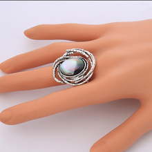 Real Natural Shell Material Finger Rings for Men and Women Vintage Ancient Silver Color Wedding Band Ring Jewelery Accessories