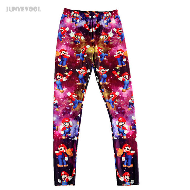 Leggings for Women Ankle Length Game Mary Printed  Galaxy Bodycon Women's Seamless Leggings Elasticity Funny Tousers Gradient